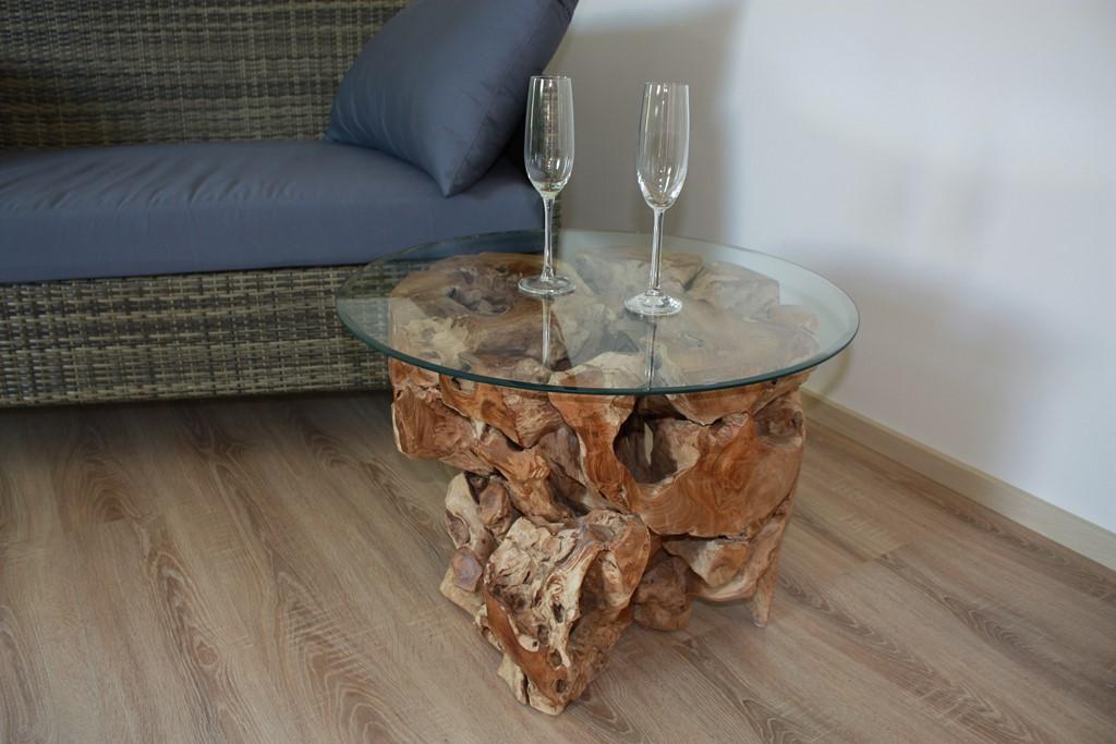 Couchtisch Wurzelholz Holz Rustikal Beistelltisch Wurzeltisch Glastisch