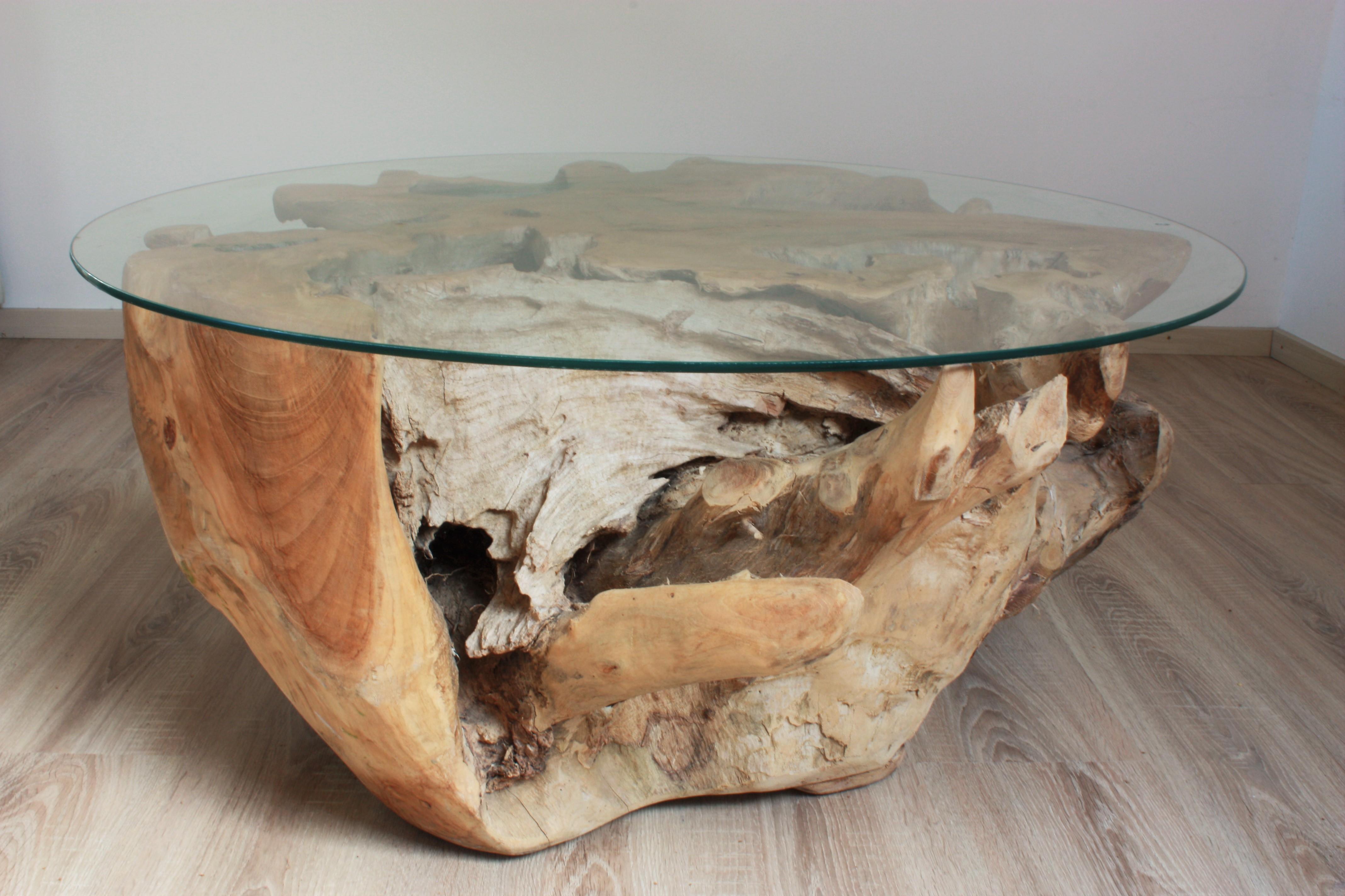 Couchtisch wurzelholz holz rustikal beistelltisch for Holz couchtisch mit glasplatte