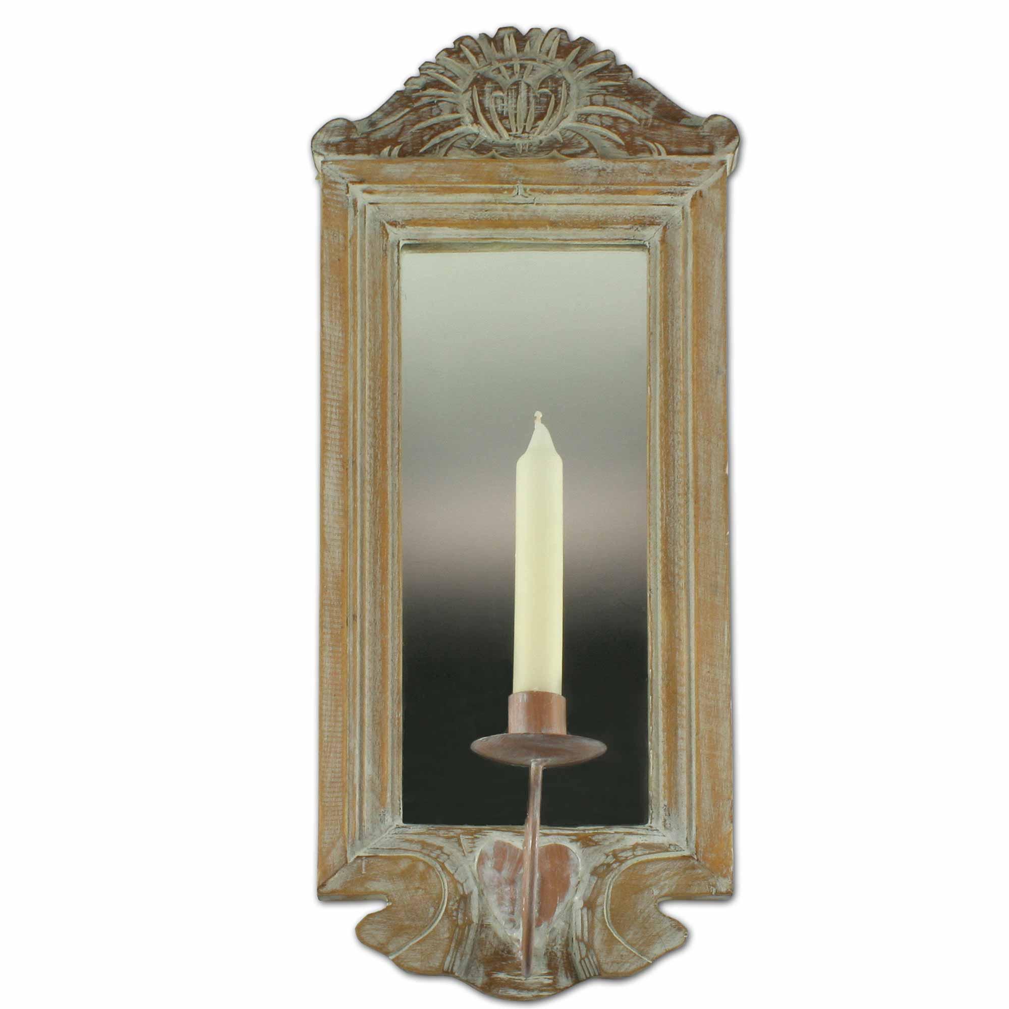 wandspiegel mit kerzenhalter echtholzrahmen 54x20 cm. Black Bedroom Furniture Sets. Home Design Ideas